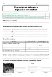 Signaux et information – Examen Evaluation : 4eme, 5eme Primaire
