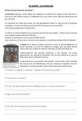 La mairie, la commune – Instruction civique – Documents, questions, corrigés : 3eme, 4eme Primaire