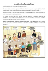 La mairie et les affaires de l'école – Instruction civique – Documents, questions, corrigés : 3eme, 4eme Primaire