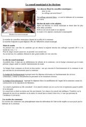 Le conseil municipal et les élections – Instruction civique – Documents, questions, corrigé : 3eme, 4eme Primaire