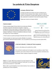 Les symboles de l'UE – Instruction Civique- Fiches Etre un citoyen européen – Documents, questions, correction : 4eme, 5eme Primaire