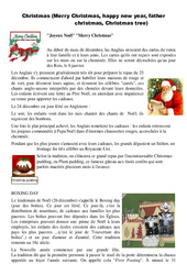 Christmas – Merry Christmas, happy new year, father christmas, Christmas tree – Civilisation anglaise : 3eme, 4eme, 5eme Primaire