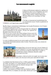 Monuments anglais – Civilisation Anglaise : 3eme, 4eme, 5eme Primaire