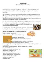 Thanksgiving – Quatrième jeudi de Novembre – Civilisation anglaise : 3eme, 4eme, 5eme Primaire