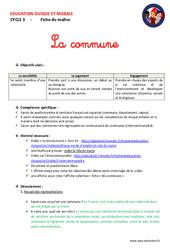 Commune – Fiche de préparation – EMC : 4eme, 5eme Primaire