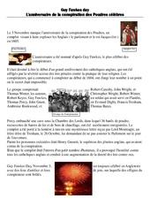 Guy Fawkes day – L'anniversaire de la conspiration des Poudres célèbres – Civilisation anglaise : 3eme, 4eme, 5eme Primaire
