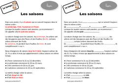 Saisons – Cours, Leçon : 2eme Primaire