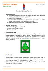 Calendrier de l'avent – Fiche de préparation : 3eme Maternelle – Cycle Fondamental