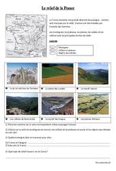 Relief de la France – Géographie : 3eme, 4eme Primaire