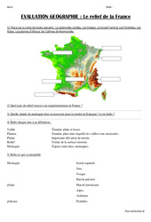 Relief de la France – Examen Evaluation : 3eme, 4eme Primaire