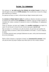 La commune – Cours, Leçon : 3eme Primaire