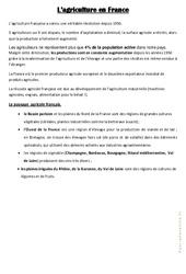 L 'agriculture en France – Géographie – Cours, Leçon : 3eme, 4eme, 5eme Primaire