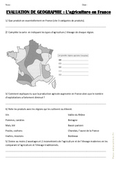 Agriculture en France – Examen Evaluation : 3eme, 4eme, 5eme Primaire