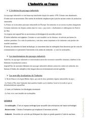 L' industrie en France – Cours, Leçon : 4eme, 5eme Primaire
