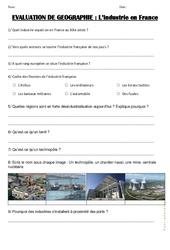 Industrie en France – Examen Evaluation : 4eme, 5eme Primaire