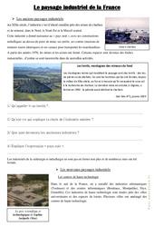 Le paysage industriel de la France – Documents, questions, correction : 4eme, 5eme Primaire