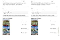 Activités de tourisme en France – Examen Evaluation : 4eme, 5eme Primaire