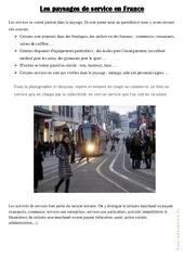 Les paysages de service en France – Exercices : 4eme, 5eme Primaire