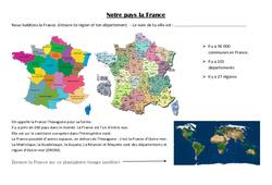 Notre pays la France – Exercices : 3eme Primaire
