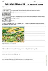 Paysages ruraux – Examen Evaluation : 3eme Primaire