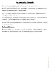 Le territoire français – Cours, Leçon : 4eme, 5eme Primaire