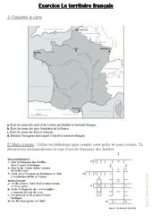 Le territoire français – Exercices : 4eme, 5eme Primaire
