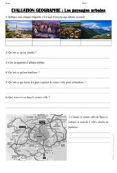 Paysages urbains – Examen Evaluation : 3eme, 4eme Primaire