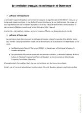 Le territoire français  en métropole et Outre – mer – Cours, Leçon : 4eme, 5eme Primaire