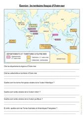 Les territoires français d'Outre – mer – Exercices : 4eme, 5eme Primaire