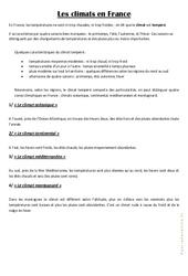 Les climats en France – Cours, Leçon : 3eme, 4eme Primaire
