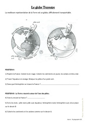 Le globe Terrestre – Exercices : 3eme Primaire