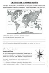 Le planisphère – Continents et Océans – Documents, questions : 3eme Primaire