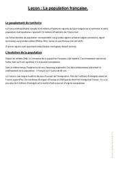 La population française – Cours, Leçon : 4eme, 5eme Primaire