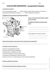 Population française – Examen Evaluation : 4eme, 5eme Primaire
