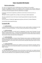 Les grandes villes françaises – Cours, Leçon : 4eme, 5eme Primaire