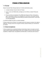 L'Europe et l'Union Européenne – Cours, Leçon : 4eme, 5eme Primaire