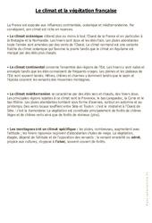 Le climat et la végétation française – Cours, Leçon : 4eme, 5eme Primaire