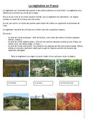 La végétation en France – Exercices : 4eme, 5eme Primaire