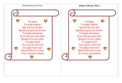Poèmes fête des pères  : 3eme, 4eme, 5eme Primaire
