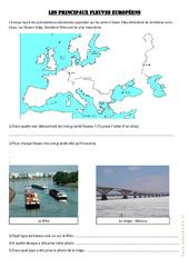 Les principaux fleuves européens – Exercices géographie  : 4eme, 5eme Primaire