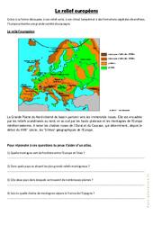 Relief et paysages d'europe – Exercices géographie  : 4eme, 5eme Primaire