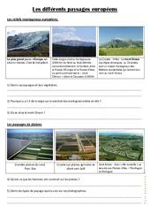 Les différents paysages européens – Documents, questions, correction- Fiches Géographie  : 4eme, 5eme Primaire