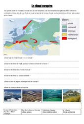 Le climat européen – Exercices géographie  : 4eme, 5eme Primaire