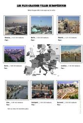 Les plus grandes villes européennes – Exercices géographie – Europe  : 4eme, 5eme Primaire