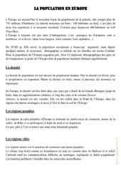La population européenne – Cours, Leçon – Géographie  : 4eme, 5eme Primaire