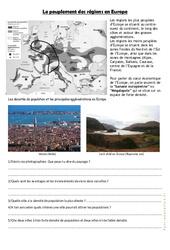 Le peuplement des régions en Europe – Exercices géographie  : 4eme, 5eme Primaire