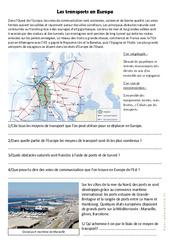 Les transports en Europe – Exercices géographie  : 4eme, 5eme Primaire