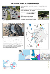 Les différents moyens de transport en Europe – Exercices  – Documents et questions : 4eme, 5eme Primaire