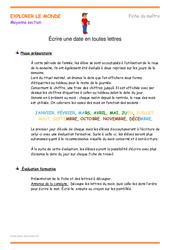 Écrire une date en toutes lettres – Fiche de prep : 2eme Maternelle – Cycle Fondamental