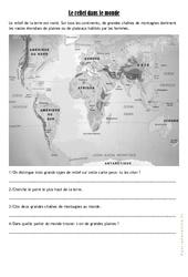 Le relief dans le monde – Exercices et correction – Géographie  : 4eme, 5eme Primaire